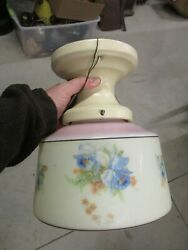 ANTIQUE LIGHT FIXTURE WITH GLASS GLOBE SHADE IRIS SCHOOL HOUSE FRANKLIN POTTERY $125.00