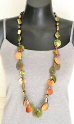Green Mother of Pearl Shell Wood Bead Brass Tone Long Boho Statement Necklace $9.50