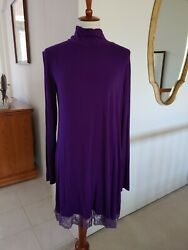 Leading Star Mock Neck Jewel Tone Purple Dress or Tunic with Lace Hem XL $10.00