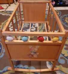 Vintage Wooden Baby Doll Crib Cradle by Denis Toy Company. Pre Owned. $65.00