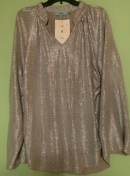 Karlie Metallic Silver Bell Sleeve Holiday Party Cocktail Top Blouse Size Small $45.00