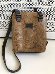Relic by Fossil Crossbody Purse Brown Leather Embossed Paisley Tooled $13.99