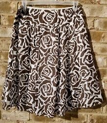 Old Navy Womens Brown Skirt A Line Floral Cotton Lined Size 8 $18.99