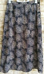 Talbots Womens SZ 14 Black Brown Skirt Long Maxi Side Button Lined Work Casual $22.00