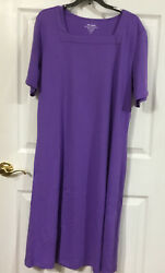 Vicki Wayne Pullover Purple Dress Size XL Short Sleeve Knit NWOT $11.10