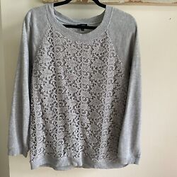 Talbots Gray Sweatshirt Sweater Lace Front Terry Long Sleeve Cute Comfy Classy $16.00