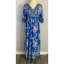 Flying Tomato Maxi Dress Small Blue Floral Casual Rayon Elbow Length Sleeves $30.00