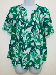 Old Navy Womens Size S Green Floral Leaves Blouse Short Sleeve $12.00