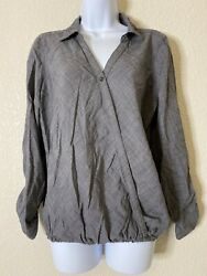 Maurices Womens Size L Gray Wrap Style Blouse Roll Tab Sleeve $12.00