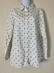 Talbots Womens Size M Gold Polka Dot Button Front Blouse $13.00