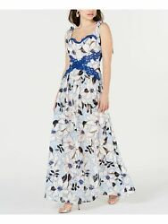 FOXIEDOX Womens Blue Floral Sleeveless Maxi A Line Party Dress Size: XS $10.99