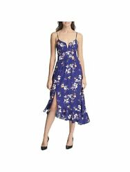 GUESS Womens Blue Floral Spaghetti Strap Midi Party Dress Size: 8 $7.99