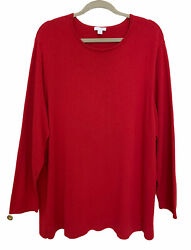 J Jill Red Plus Size Pullover Long Sleeve Sweater Crewneck Oversize 3X Holiday $16.80