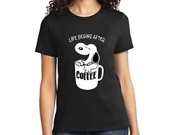 MENS WOMENS BLACK T SHIRT with LIFE BEGINS AFTER COFFEE SNOOPY PRINT $13.44