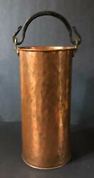 Vintage Tall COPPER Bucket Cast Iron Handle Rustic Primitive Country $75.00