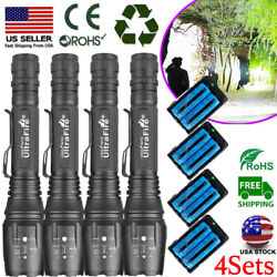 4Sets Tactical LED Rechargeable Flashlight Super Bright Zoomable Torch Light US $14.36