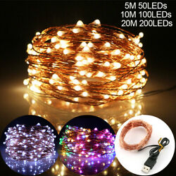 USB Plug In Micro Copper Wire Fairy String Lights 50 100 200 LED Home Xmas Decor