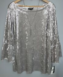 NWT I.N. Studio Woman Silver Velvet Holiday top with Coordinating Necklace 3x $18.99