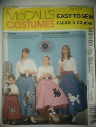 MCCALL#x27;S COSTUMES POODLE SKIRTS PATTERN M6101 $8.00