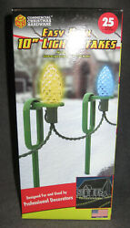25 Adams Commercial Christmas Hardware 10quot; Easy Push Green Light Stakes USA NEW