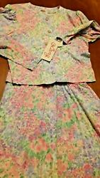 LANZ ORIGINALS VTG MIDI SKIRT AND TOP SET NEW WTAGS. PINK TULIPS. SIZE 14 $24.50
