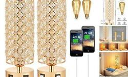 Touch Control USB Crystal Table Lamp Sets Dimmable Nightstand Lamp with Dual $72.77