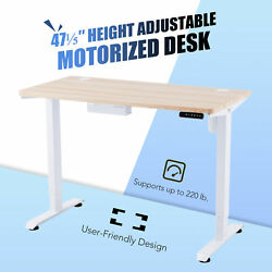 47quot; Custom Motorized Sitting Standup Desk for Work or Study w 220lb Cap White $266.99