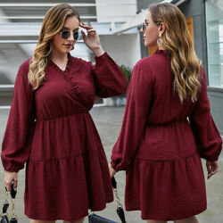 Womens Plus Size V neck Cocktail Dress Long Sleeve Casual High Wiast Skirt Solid $22.98