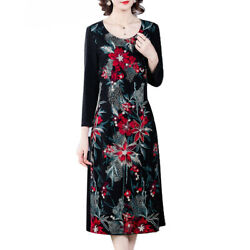 Womens Floral Crew Neck Long Sleeve Slim Maxi Dress Casual Evening Party Dresses $15.48