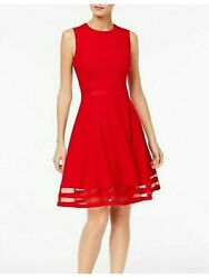 CALVIN KLEIN Womens Red Sleeveless Below The Knee Fit Flare Party Dress 10 $22.99