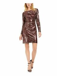 VINCE CAMUTO Womens Maroon Long Sleeve Short Shift Cocktail Dress 12 $22.99