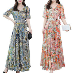 Womens Floral Short Sleeve Swing Long Dress Summer Holiday Beach Maxi Sundress $16.24