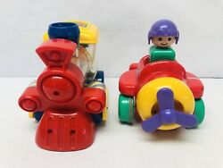 Vintage Tomy Toys Push N Go Helicopter amp; Train Toddler Preschool Toy Vehicles $11.95