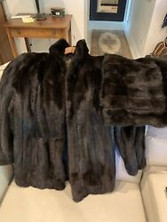 Excellent Chocolete Mink Fur Coat S M And Fur Stole shawl $155.00