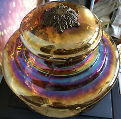RARE Large Vintage Iridescent Carnival Glass Lamp Shade Dome Light Floor Ceiling $209.99