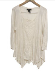 Style amp; Co boho lace embroidered asymmetrical top Size Medium $16.99