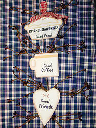 Rustic Country Wood and Pip Plaque quot;Kitchen Gatheringsquot; Inspirational home décor $5.89