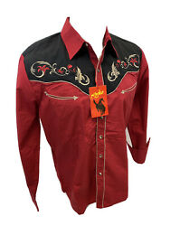 Men RODEO WESTERN RED BLACK STITCH Long Sleeve Woven SNAP UP Shirt Cowboy 528 $34.97