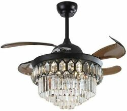 42 inch Crystal Ceiling Fan Light with Remote 3color Dimming Chandelier Lighting $189.99
