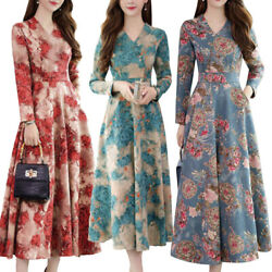 Womens Floral V Neck Long Sleeve Swing Maxi Dress Casual Party A Line Dresses US $14.72