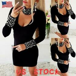 Womens Beading Long Sleeve Bodycon Dress Jumper Sweater Ladies Party Dresses USA $24.79