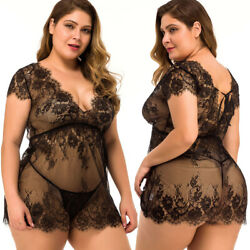 Plus Size Sexy Lingerie Women Eyelash Lace Babydoll Sleepwear Nightgown Dress US $10.99
