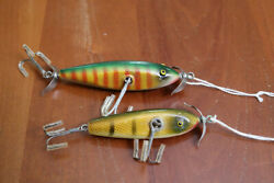 2 Vintage PAW PAW WOUNDED INJURED MINNOW WOOD LURES quot;Old Flatsidequot; $48.00