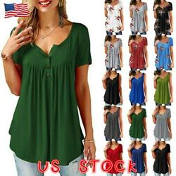 Women Short Sleeve Blouse Solid Plus Size Summer T Shirt Casual Loose Tunic Tops $8.99