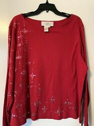 Diane Gilman Essentials Woman#x27;s Size 1X Red Long Sleeve Top Star Cotton $15.00