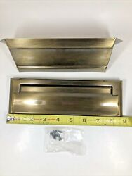 Vintage Antique Brass Bronze Letter Slot Door Mount Mail Box Double Side In Out $14.99