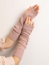 Pure Cashmere Ladies Stripes Long Gloves Finger less Warmer Winter 6 Colors $42.99