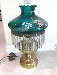 Vintage HURRICANE Table Lamp TEAL BLUE GREEN Flowers with Crystals Prisms $140.00