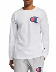 Champion Mens White Heritage Long Sleeves Elevated Graphic T Shirt XXL $15.99