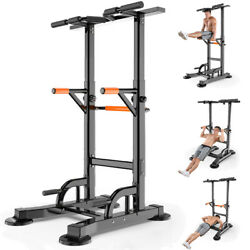 Indoor Power Tower Dip Station Adjustable Pull Up Bar Strength Training Exercise $132.99